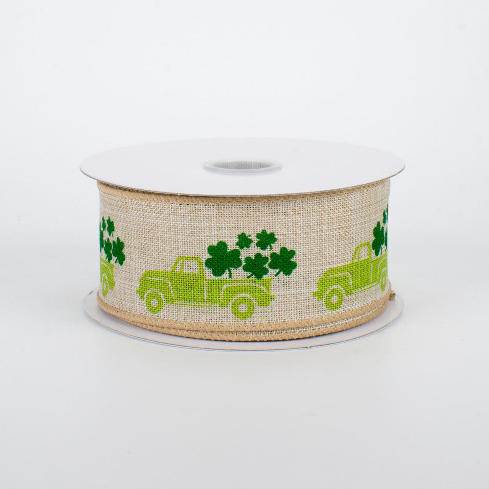 "St. Patrick's Day Vintage Style Pickup Truck Ribbon 1.5"" x 10 yards"