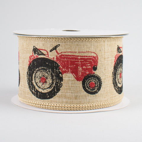 "Red Tractor Ribbon with Natural Background 2.5"" W x 10 yards"