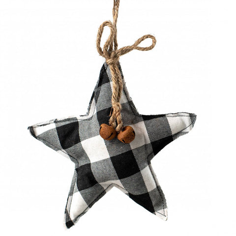 Buffalo Plaid Black and White Plush Star Ornament