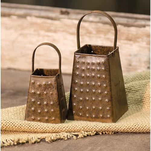 Set of 2 Mini Decorative Graters with Rusted Finish
