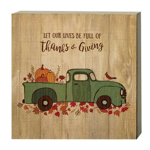 Fall Blue Truck with Pumpkins Thanks & Giving Box Sign