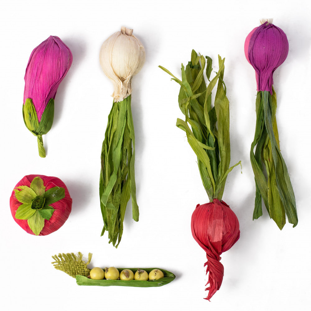Set of 6 Summer Paper Vegetables - onion eggplant radish tomato peas