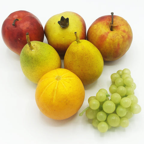 Set of 7 Faux Apples, Pears, Orange, Pomegranate, Grapes