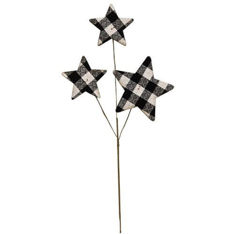 "Black & White Buffalo Plaid Stars 14"" Pick"