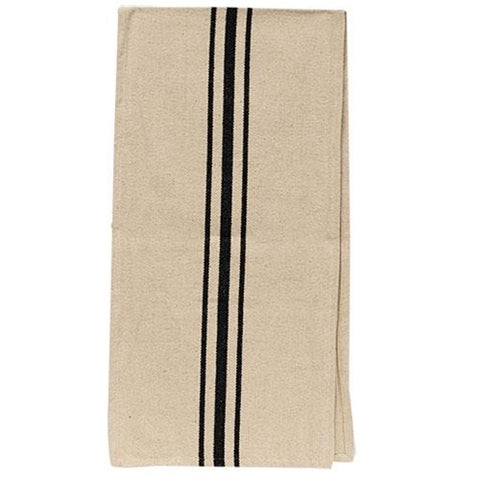 "Grain Sack Cream with Black Striped 56"" Long Runner"