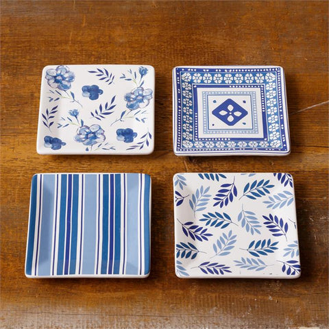 "Set of Four Out Of The Blue - 5"" Square Plates"