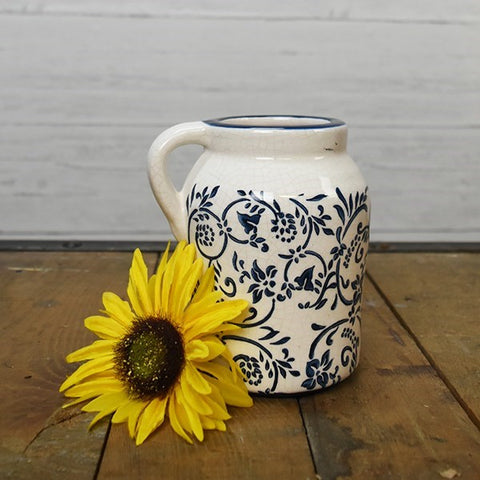 "Blue and White Floral 6.5"" H Jug"