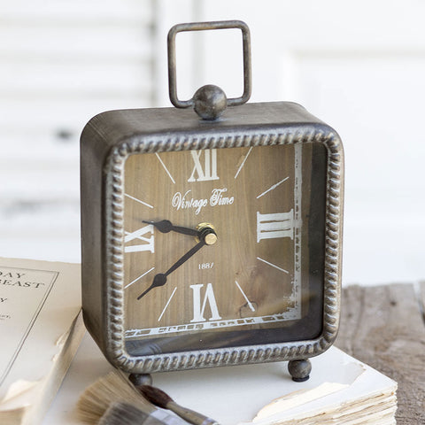 "Square ""Vintage Time"" Shelf Mantel Clock"