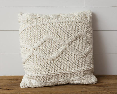 "Cream Knitted 18"" Square Throw Pillow"