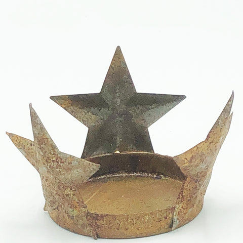 Set of 3 Rusty Star Metal Tea Light Holders