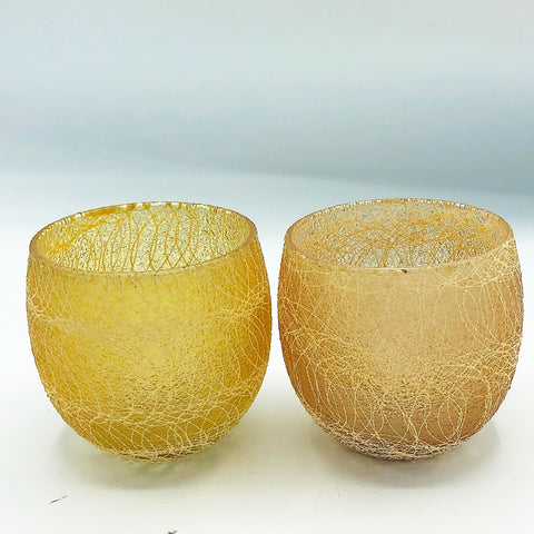 Set of 2 Yellow String Design Votive Candle Holders