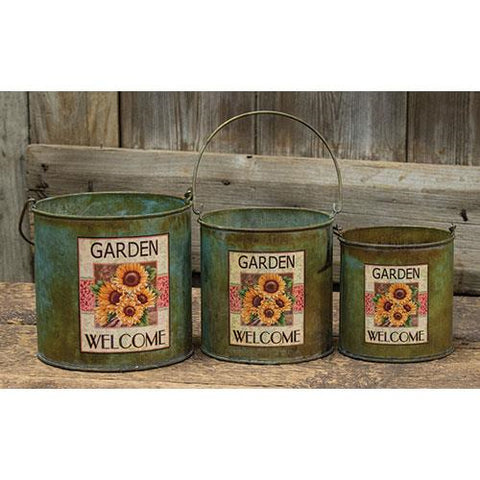 Set of Three Sunflower Welcome Metal Buckets