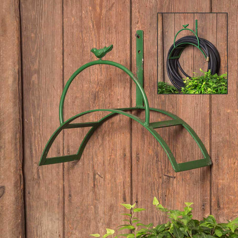 Green Wall Mounted Garden Hose Holder with Bird Accent