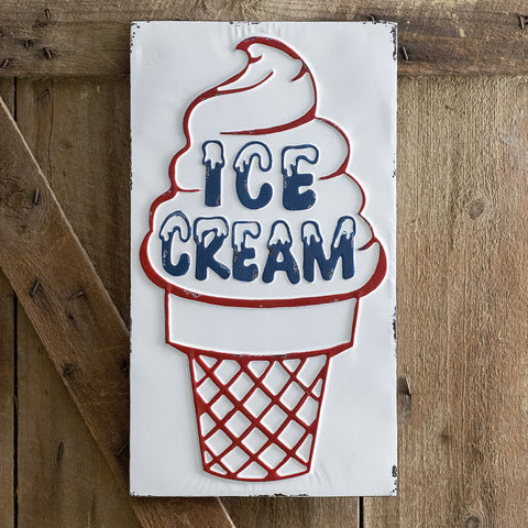 "Nostalgic Ice Cream Custard Style Cone Stand 23"" Tin Sign"
