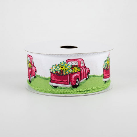 "Truck Full Of Flowers Pink & Green Ribbon 1.5"" x 10 yards"