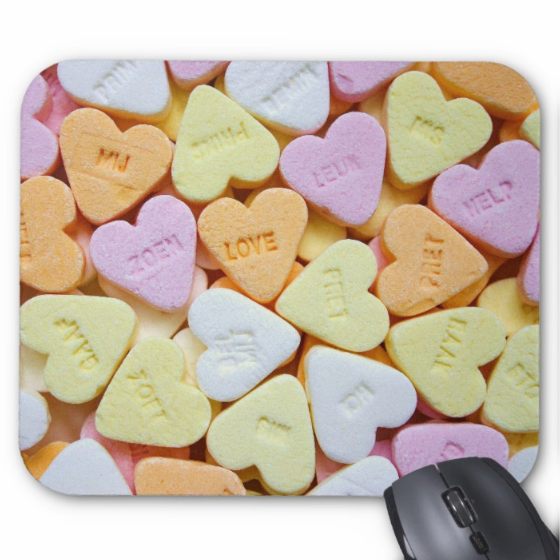 Candy Mousepad - Sweet Conversation Hearts - Mouse Pad