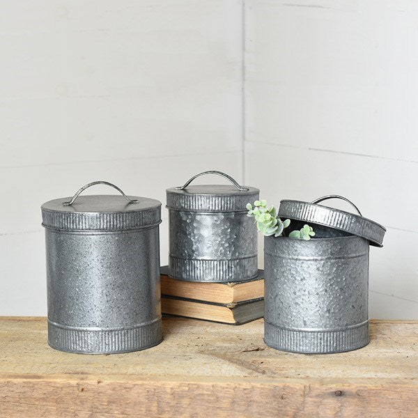Set of Three Tin Canisters with Lids