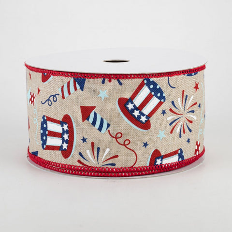 "Uncle Sam Fireworks on Light Natural Ribbon 2.5"" x 10 yards"