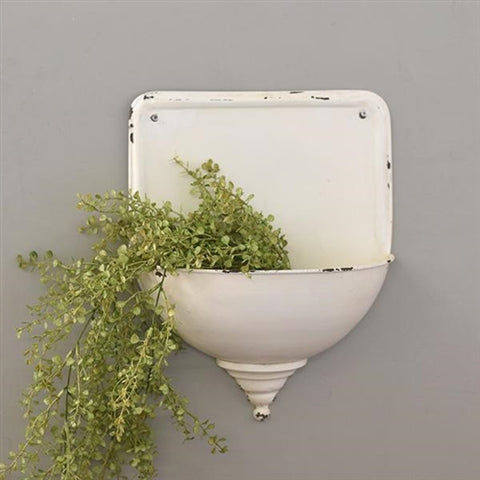 White Distressed Metal Wall Planter
