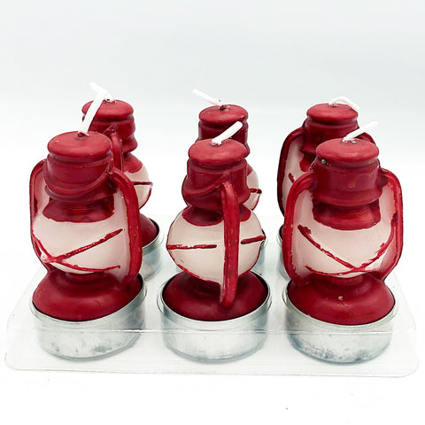 Set of Six Red Lantern Shaped Tealights