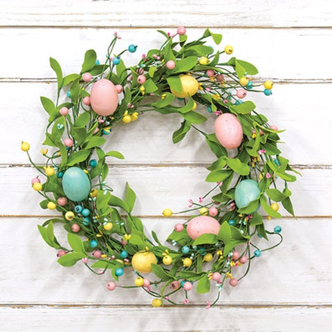 "Easter Eggs & Herb Leaves 18"" Faux Wreath"