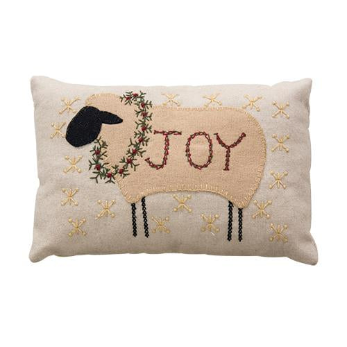 "Joy Sheep with Festive Wreath 9"" x 5"" Pillow"