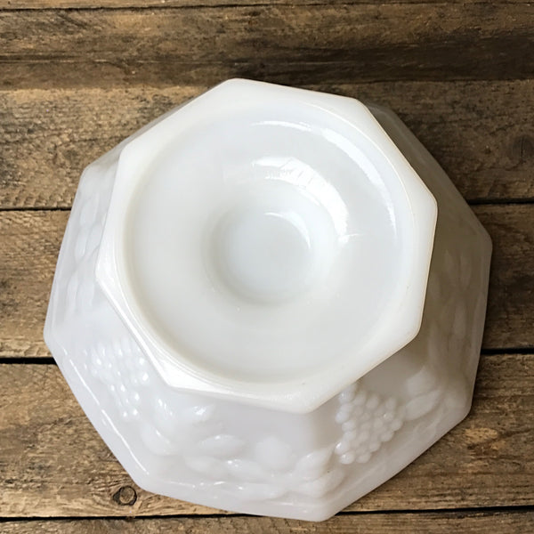 Large Milk Glass Grapevine Bowl