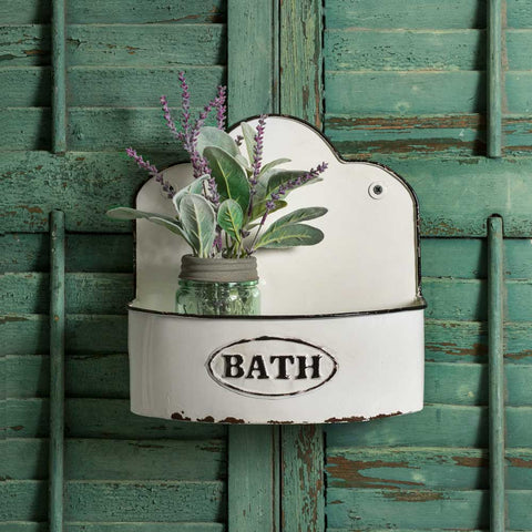 Bowed Bath White and Black Wall Caddy