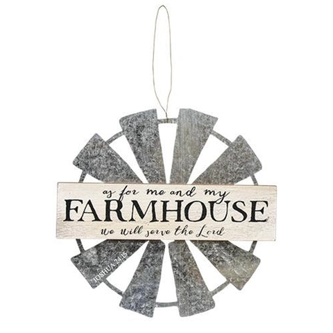 Farmhouse Windmill Hanging - As for Me and My Farmhouse, We will Serve the Lord