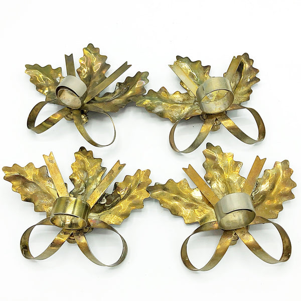 Set of Four Vintage Metal Holly Taper Candle Accents