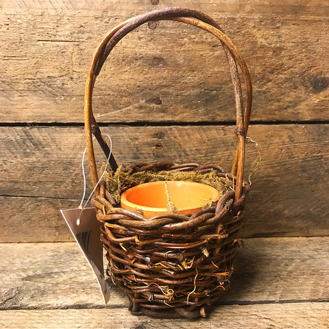 Small Vine Basket with Mini Terra Cotta Pot
