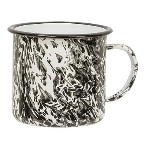 Black Splatter Enamel Soup Mug