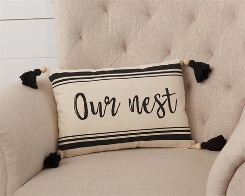 Our Nest Black and White Tassel Throw Pillow