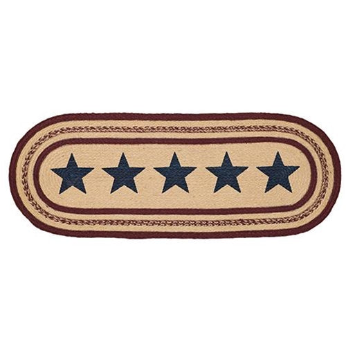 "Americana Stars and Stripes Jute Table Runner 36"" long"