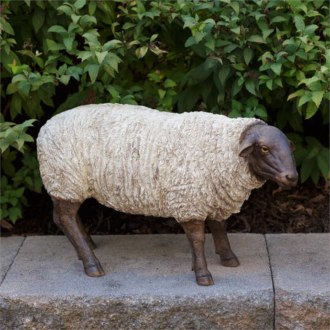 "Natural Sheep Grazing White and Black Figure 9.5"" H"