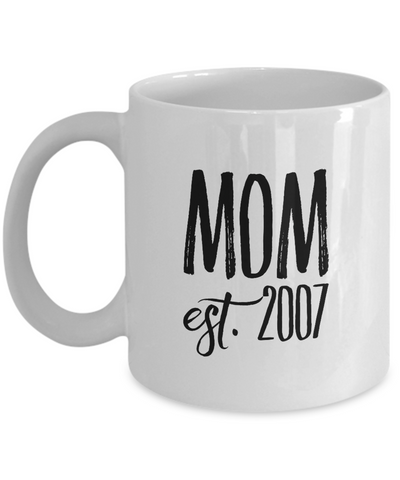 Personalized Mom Mug - Celebrate the Year She Became an Mom - 11 oz Gift Mug