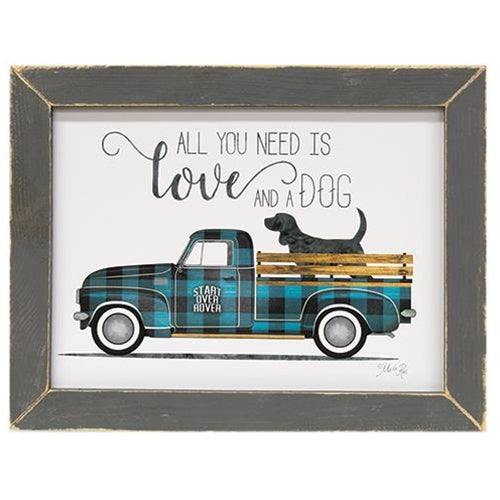 All You Need is Love and a Dog Framed Print - Buffalo Check Pickup Truck