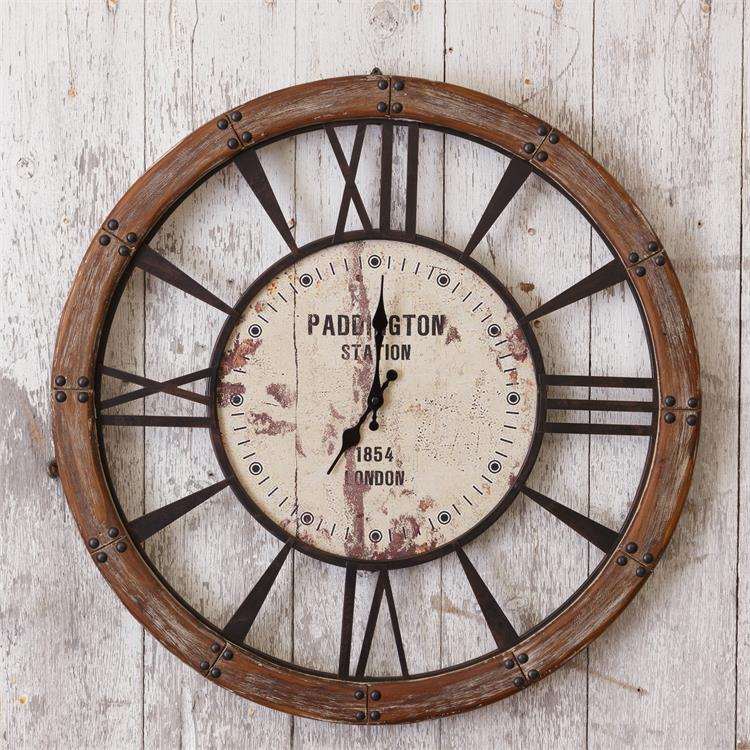 "Rustic Paddington Station London Vintage-Style Wall 24"" Clock"
