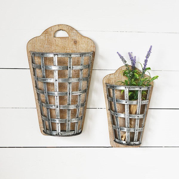 Set of 2 Tin Weave Wall Pocket Baskets