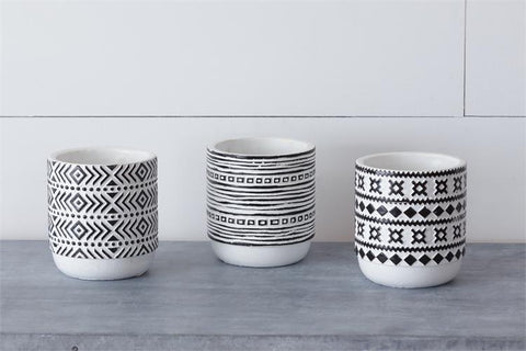 "Set of 3 Assorted Black and White 4"" Planters"