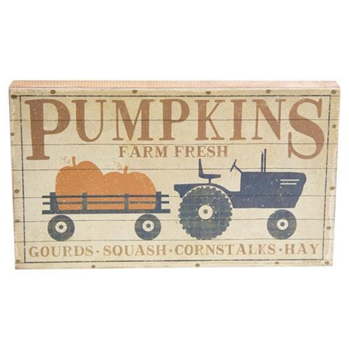Pumpkins Tractor Farm Fresh Box Sign