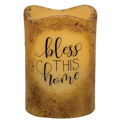 Bless this Home Pillar Candle - Timer Battery Powered