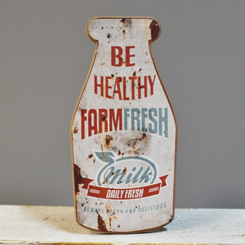 "Distressed Reproduction Old Milk Jug Sign 12"" H"