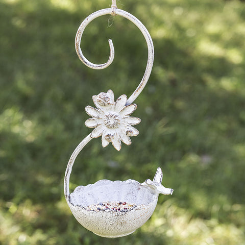 Daisy Swirl Hanging Feeder with Bird Perched