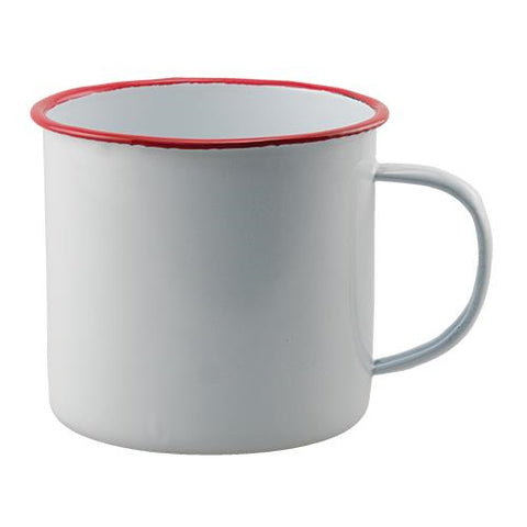 White with Red Rim Enamelware Mug
