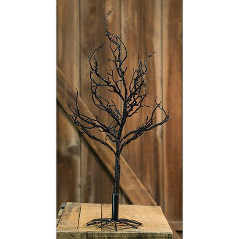 "Black Glitter Halloween 18"" H Tree with Web Base"