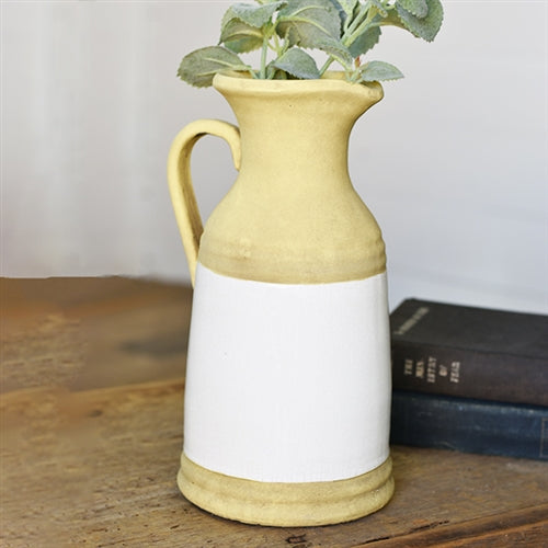 "Buttercream Yellow and White 11"" Stoneware Pitcher"