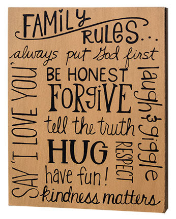 "Family Rules Box Sign 10"" H"