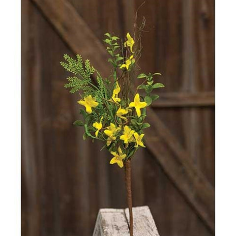 "Yellow Forsythia Twiggy 17"" Faux Pick"