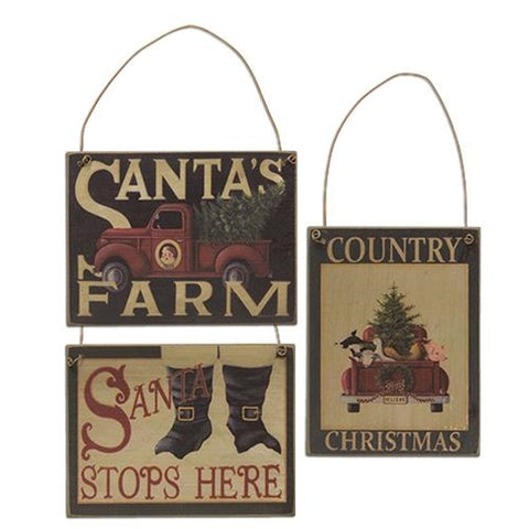 Set of 3 Santa's Farm Ornaments